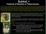 sukkot festival of booths or tabernacles