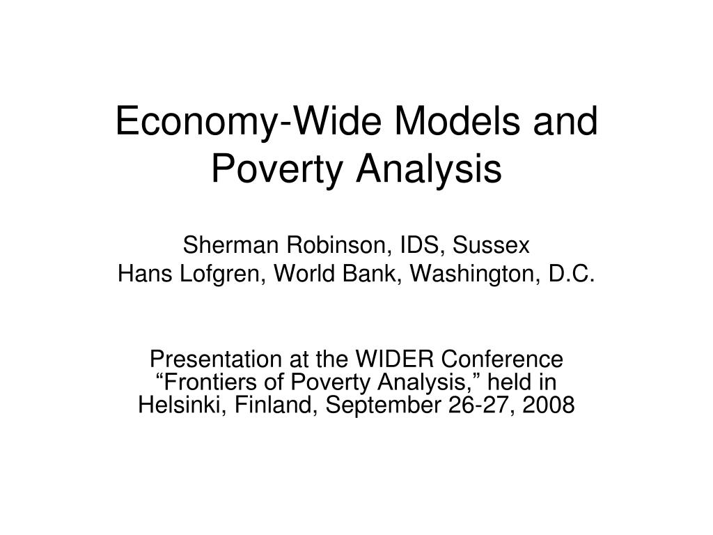 economy wide models and poverty analysis l.