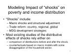 modeling impact of shocks on poverty and income distribution