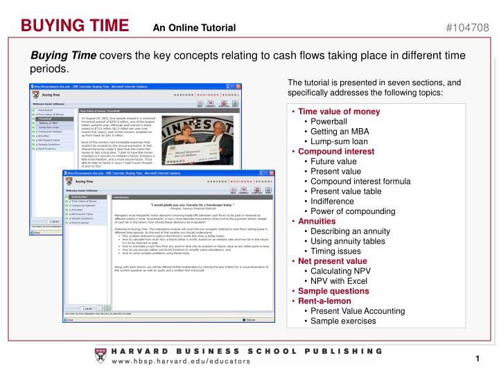 buying time covers the key concepts relating to cash flows taking place in different time periods n.