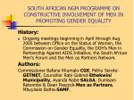 south african ngm programme on constructive involvement of men in promoting gender equality