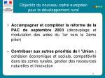 objectifs du nouveau cadre europ en pour le d veloppement rural