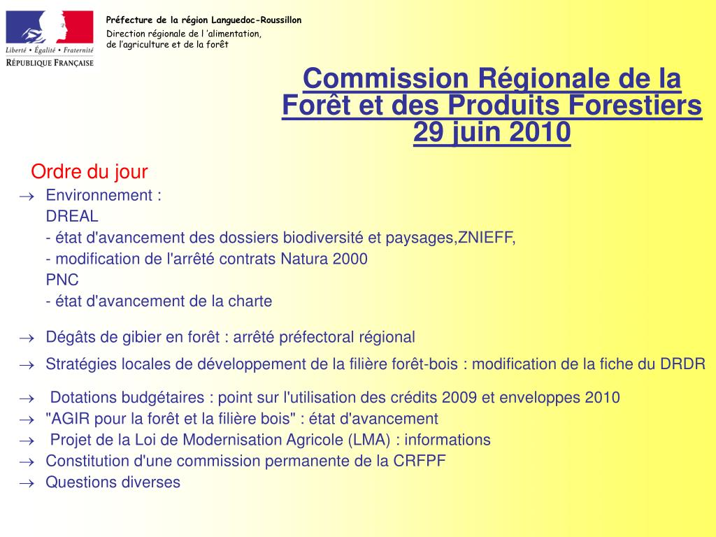 commission r gionale de la for t et des produits forestiers 29 juin 2010 l.