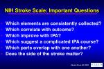 nih stroke scale important questions