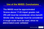 use of the nihss conclusions
