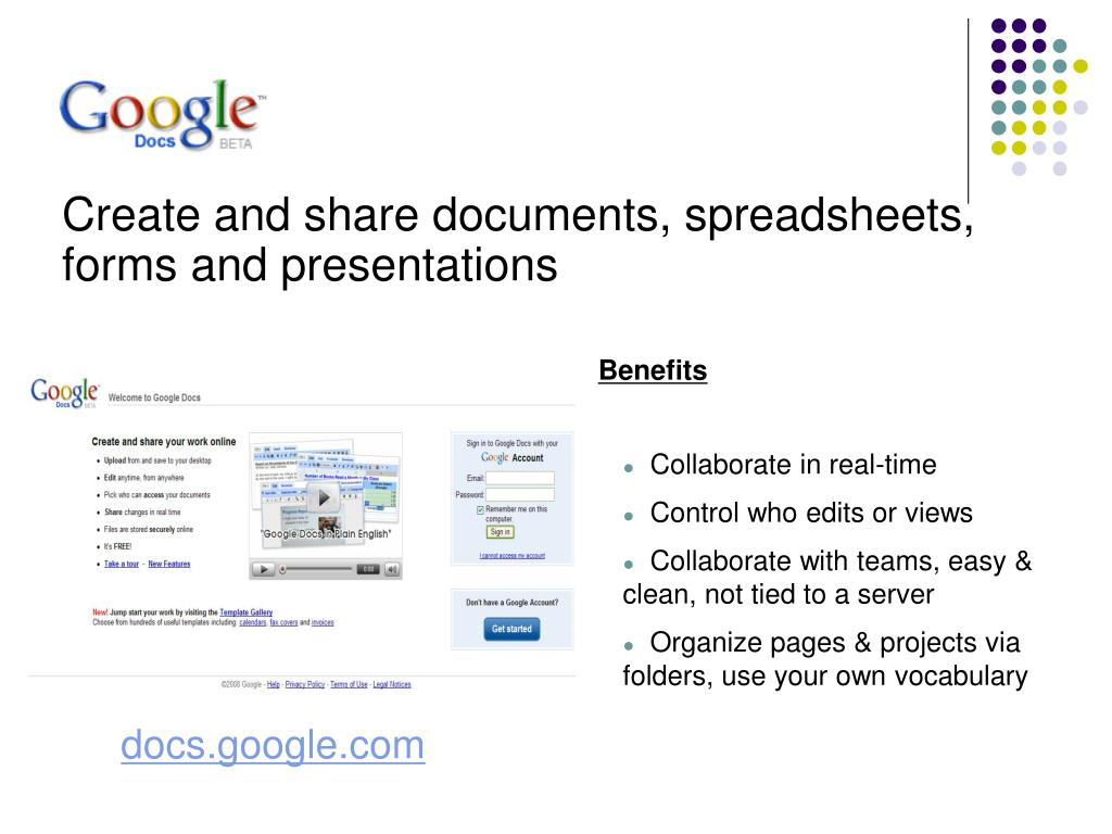 Create and share documents, spreadsheets, forms and presentations