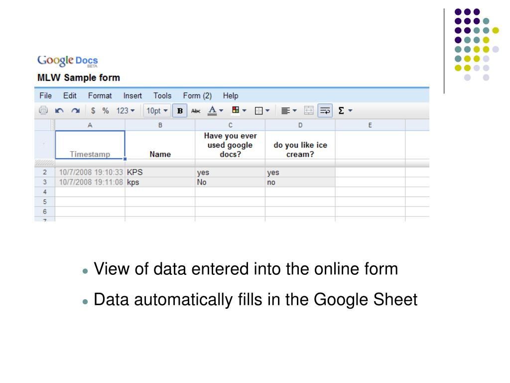 View of data entered into the online form