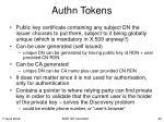 authn tokens