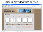 user is provided with service