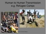human to human transmission e g refugee camps