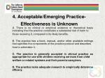 4 acceptable emerging practice effectiveness is unknown