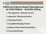 california evidence based clearinghouse for child welfare scientific rating