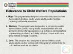 relevance to child welfare populations
