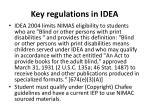 key regulations in idea