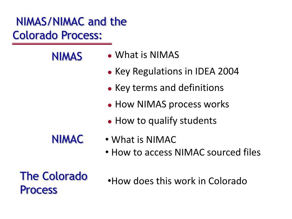 nimas nimac and the colorado process l.