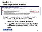 section 1 alien registration number