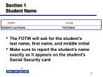 section 1 student name