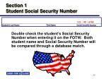 section 1 student social security number