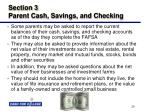 section 3 parent cash savings and checking