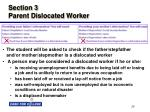 section 3 parent dislocated worker