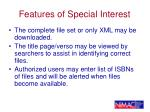 features of special interest