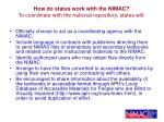 how do states work with the nimac to coordinate with the national repository states will
