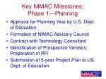 key nimac milestones phase 1 planning