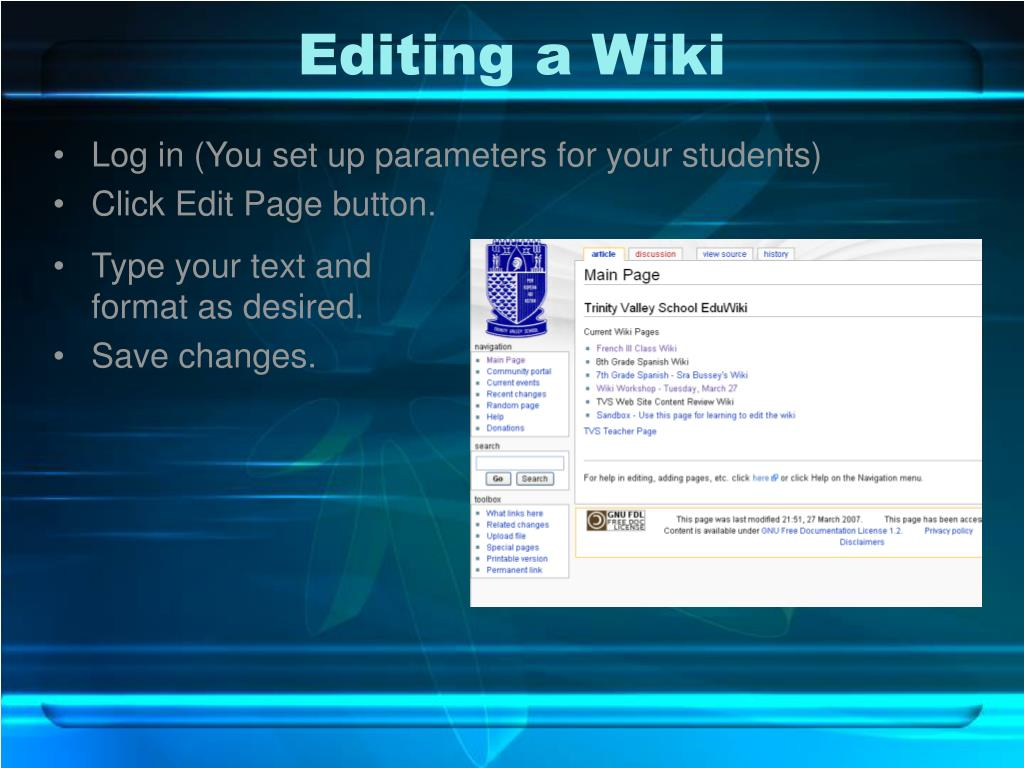 Editing a Wiki