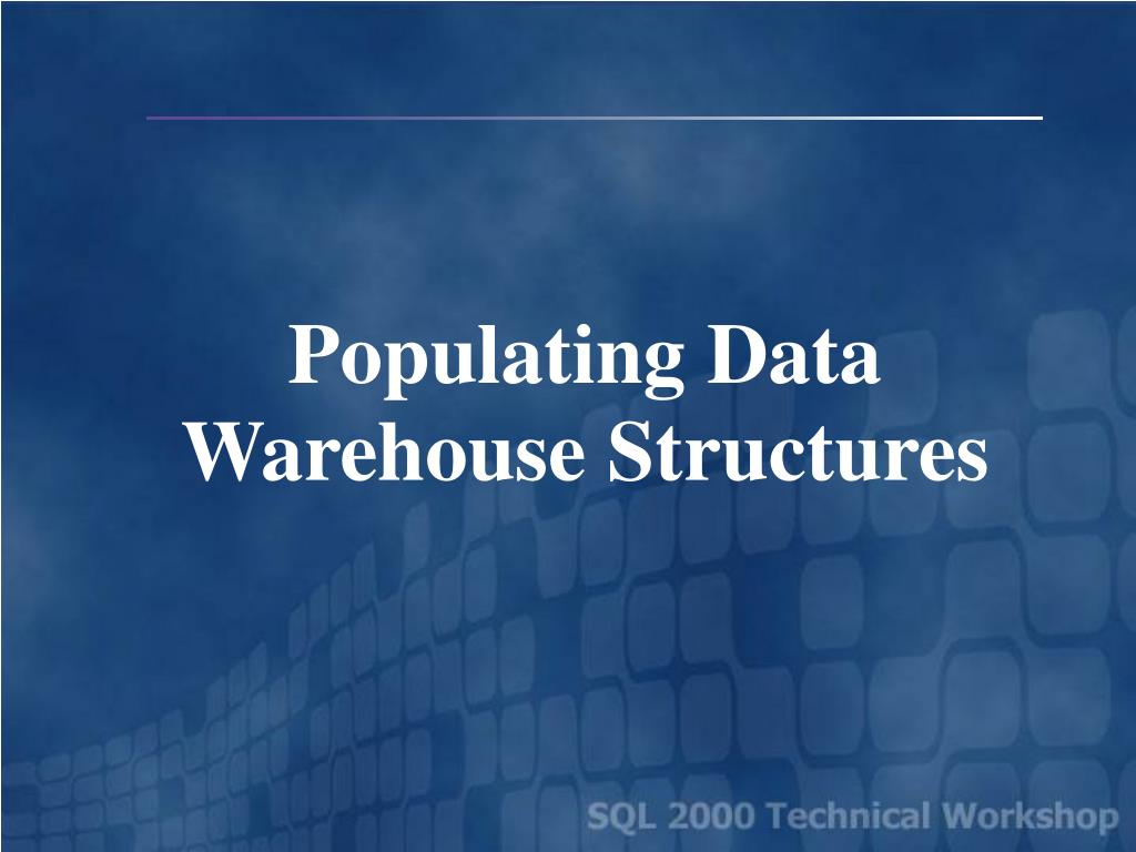 populating data warehouse structures l.