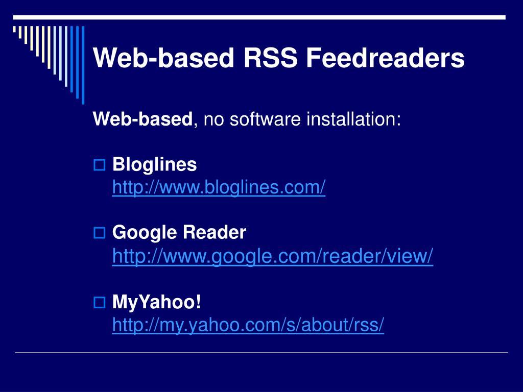 Web-based RSS Feedreaders
