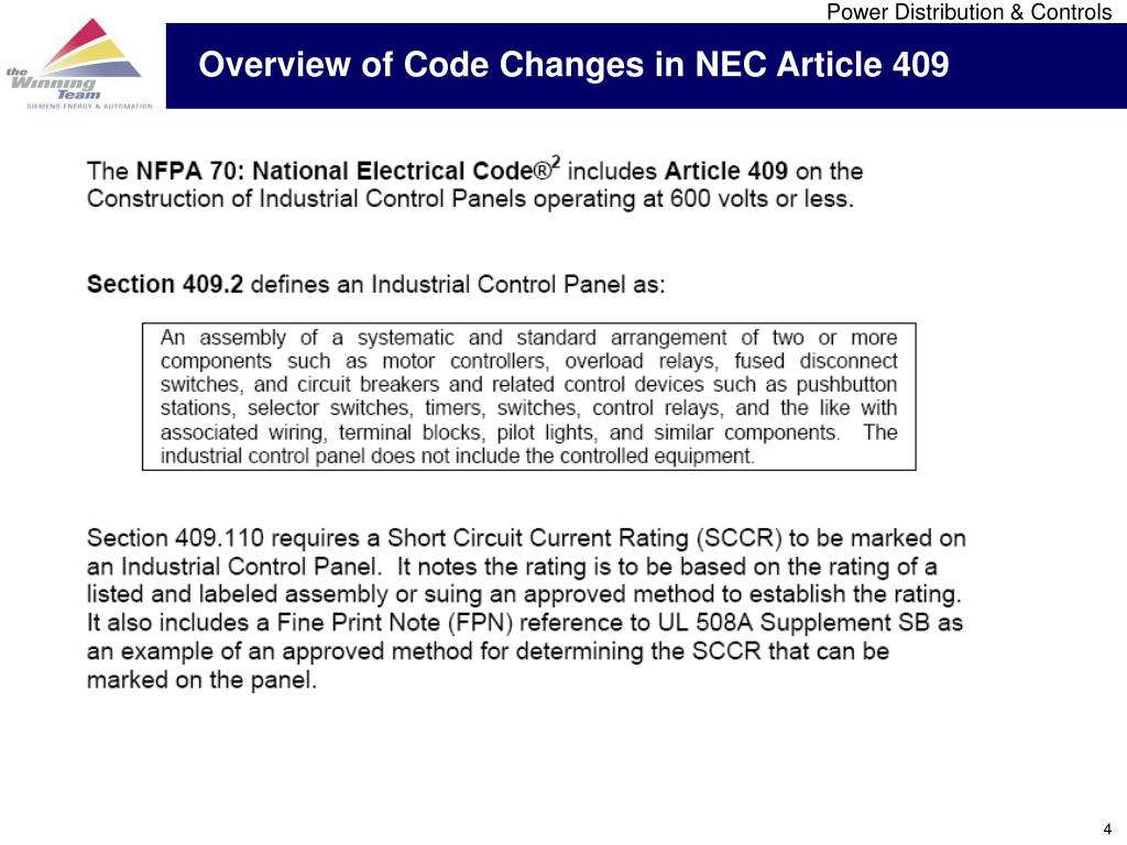 Overview of Code Changes in NEC Article 409
