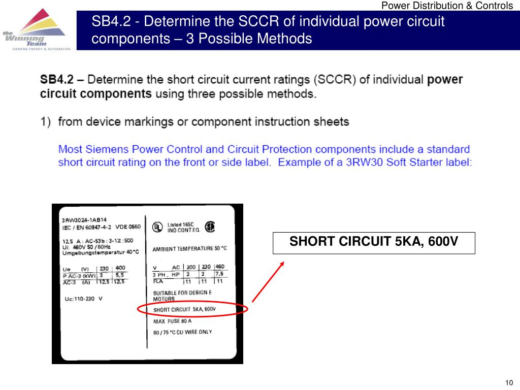 SB4.2 - Determine the SCCR of individual power circuit components – 3 Possible Methods