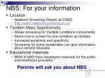nbs for your information
