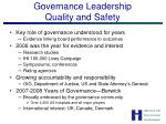 governance leadership quality and safety