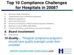 top 10 compliance challenges for hospitals in 2008