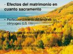 efectos del matrimonio en cuanto sacramento