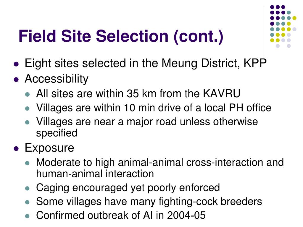 Field Site Selection (cont.)