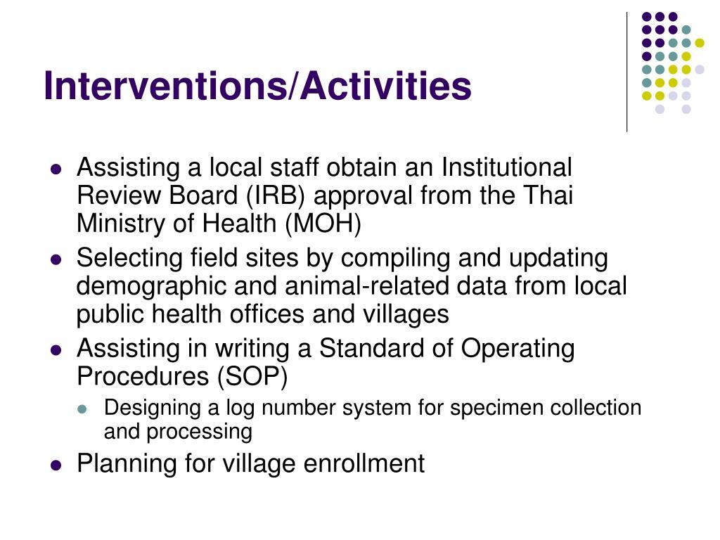 Interventions/Activities