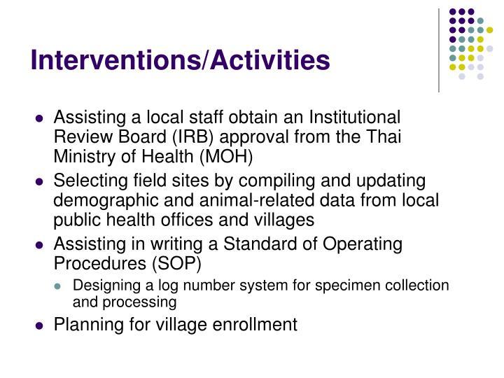 Interventions activities