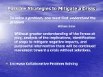possible strategies to mitigate a crisis