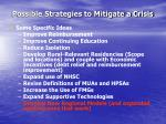 possible strategies to mitigate a crisis44