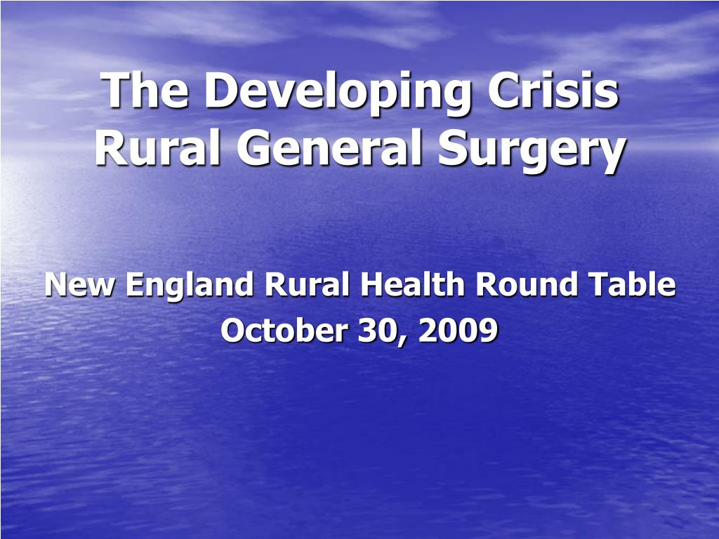 the developing crisis rural general surgery l.