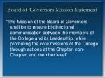 board of governors mission statement