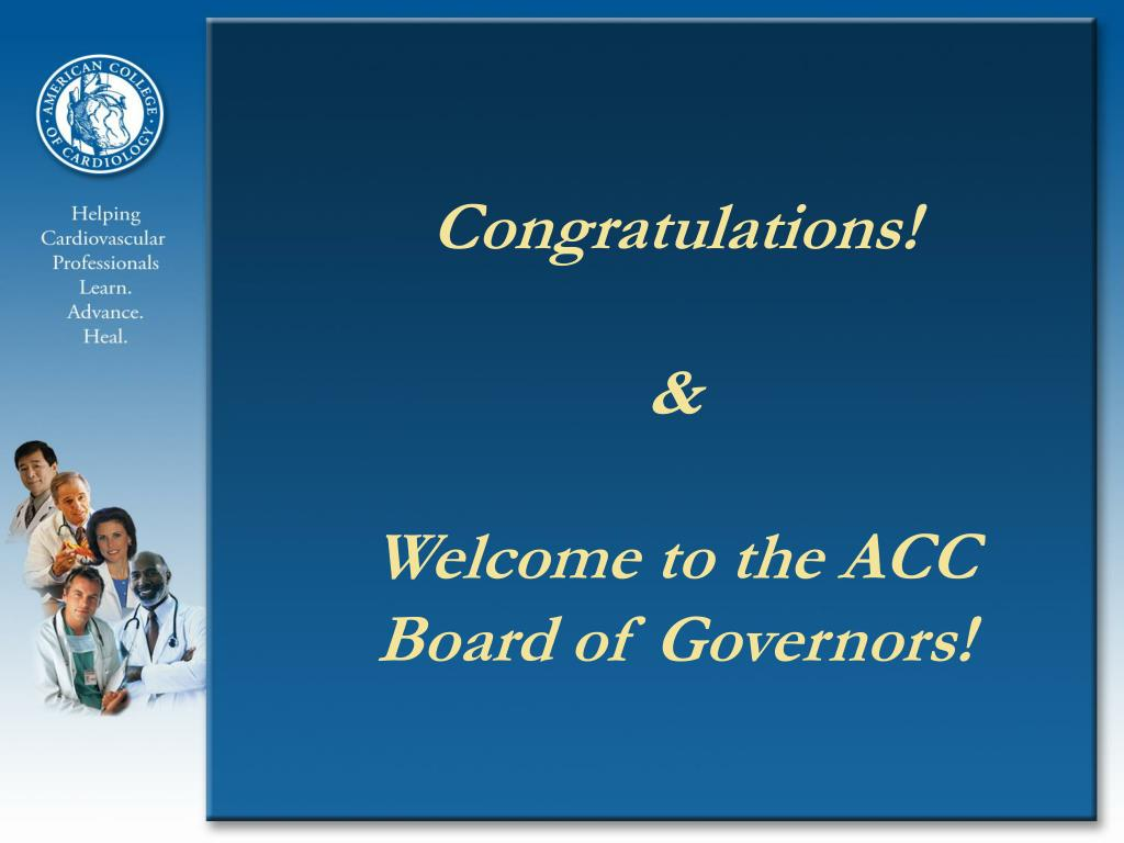 congratulations welcome to the acc board of governors l.