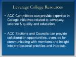leverage college resources