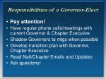 responsibilities of a governor elect