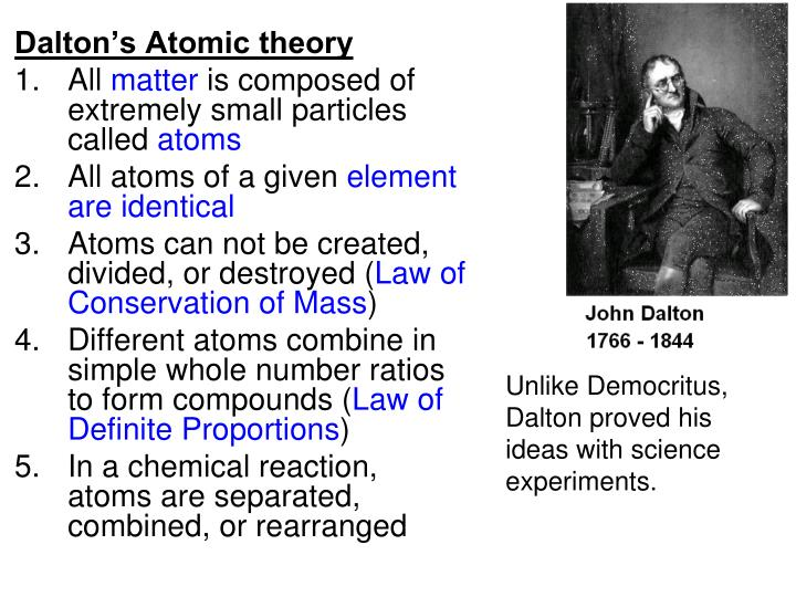 daltons theory Dalton's atomic theory 1) all matter is made of atoms atoms are indivisible and indestructible.