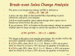 break even sales change analysis