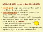 search goods versus experience goods