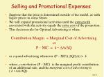 selling and promotional expenses